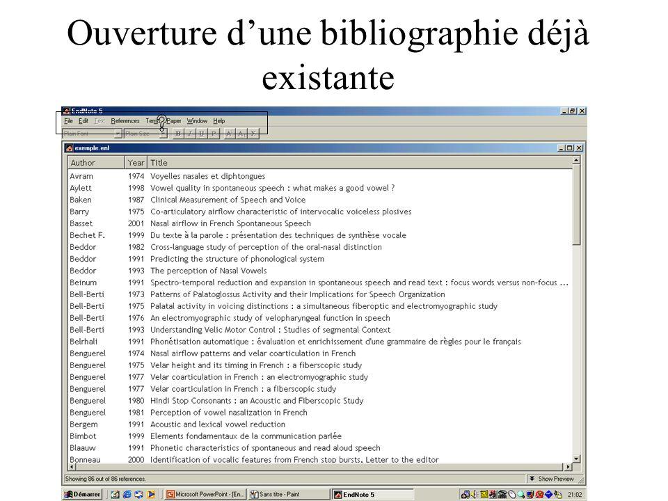 Ouverture dune bibliographie déjà existante