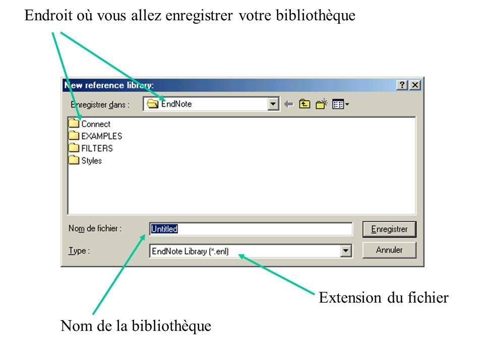 Endroit où vous allez enregistrer votre bibliothèque Nom de la bibliothèque Extension du fichier