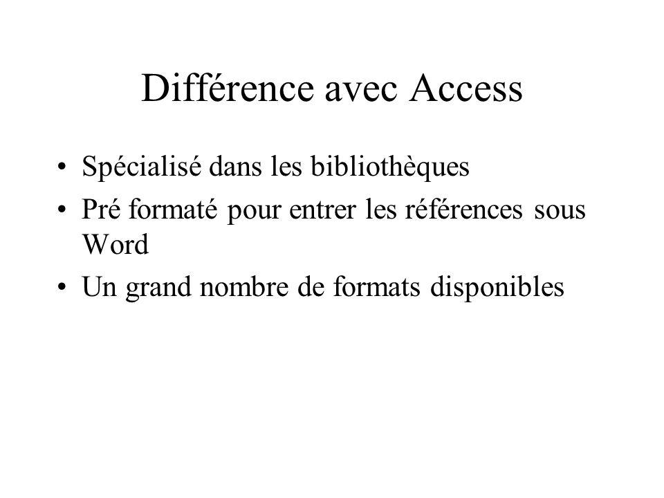 Différence avec Access Spécialisé dans les bibliothèques Pré formaté pour entrer les références sous Word Un grand nombre de formats disponibles