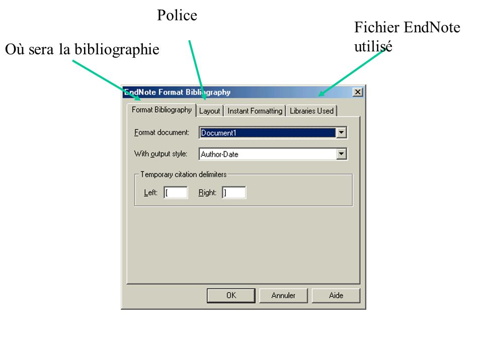 Où sera la bibliographie Police Fichier EndNote utilisé