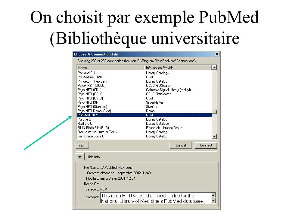 On choisit par exemple PubMed (Bibliothèque universitaire américaine)