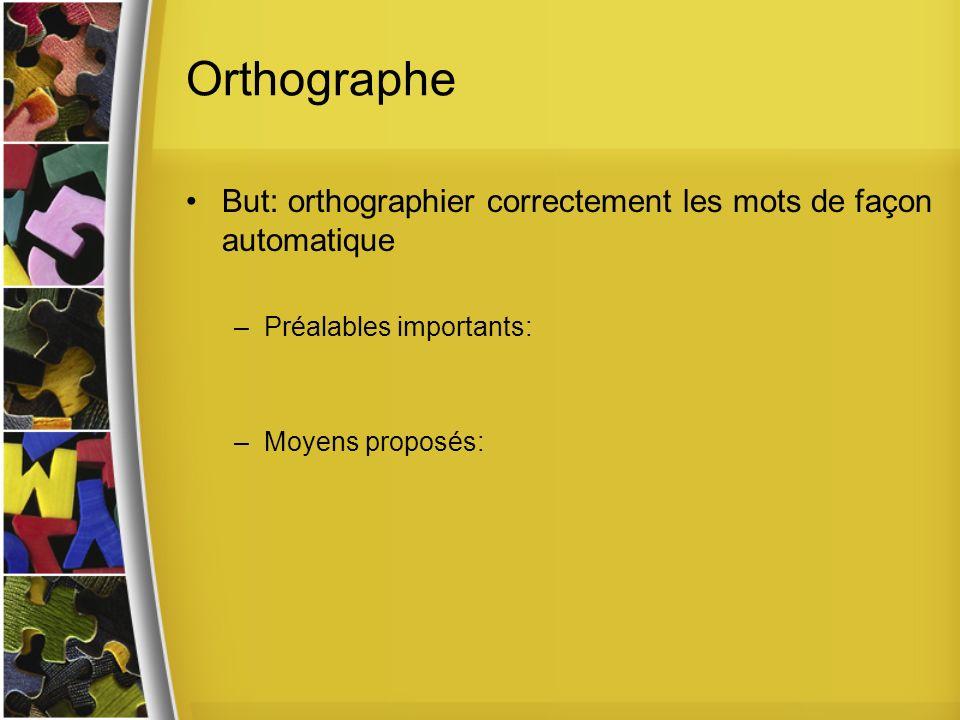 Orthographe But: orthographier correctement les mots de façon automatique –Préalables importants: –Moyens proposés: