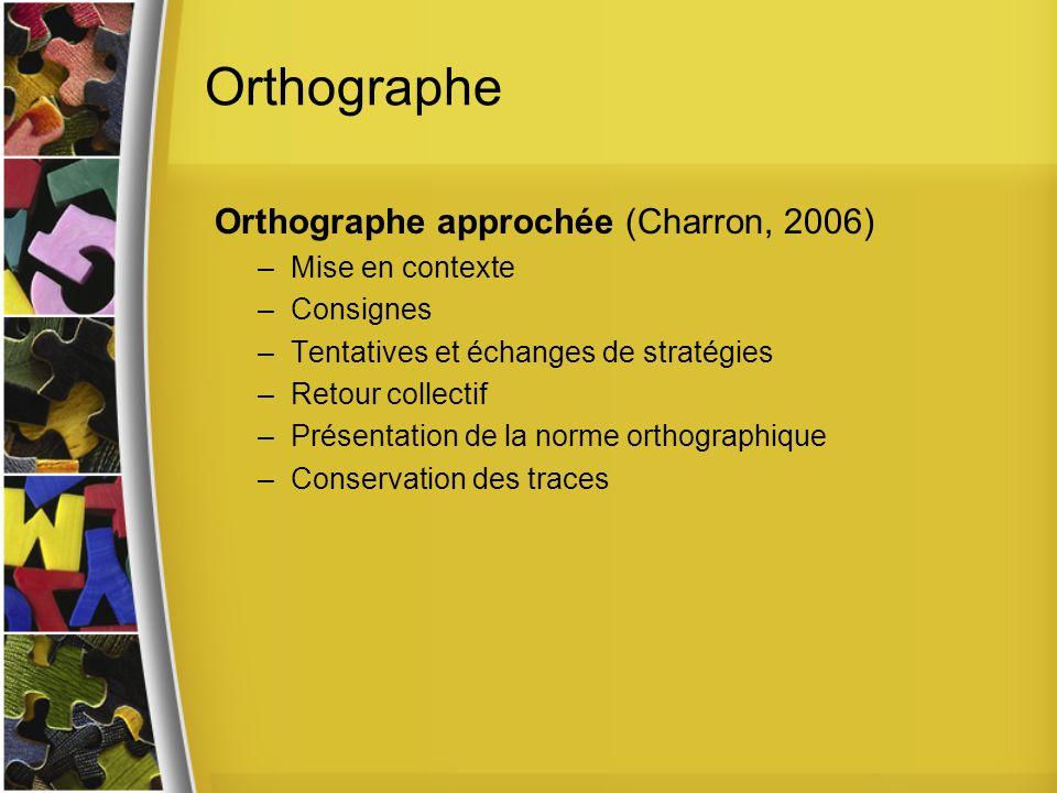 Orthographe Orthographe approchée (Charron, 2006) –Mise en contexte –Consignes –Tentatives et échanges de stratégies –Retour collectif –Présentation de la norme orthographique –Conservation des traces