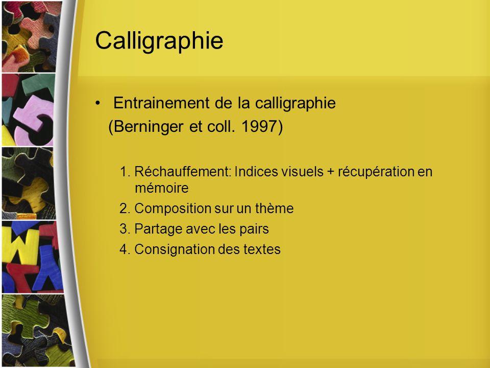 Calligraphie Entrainement de la calligraphie (Berninger et coll.