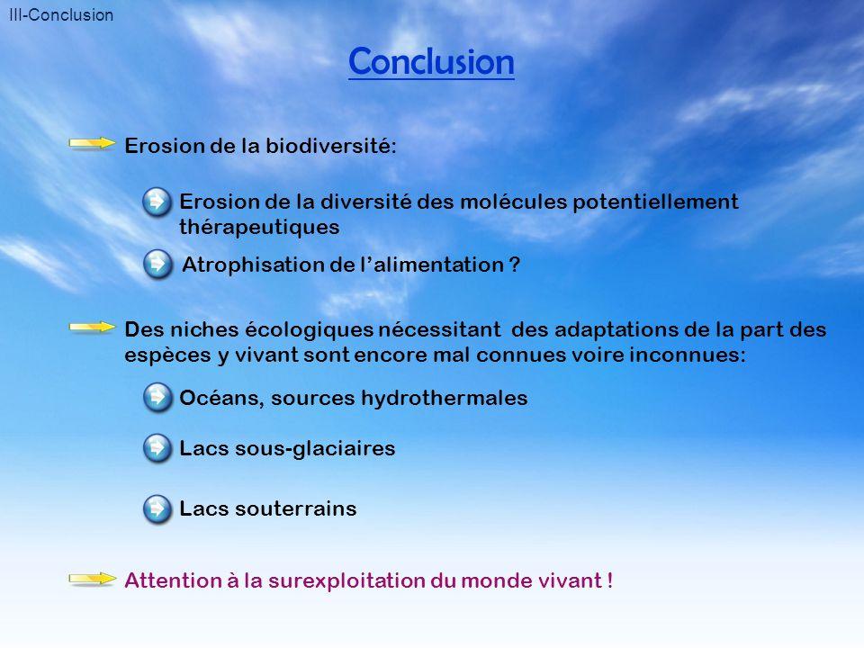 III-Conclusion Conclusion Erosion de la biodiversité: Erosion de la diversité des molécules potentiellement thérapeutiques Atrophisation de lalimentat
