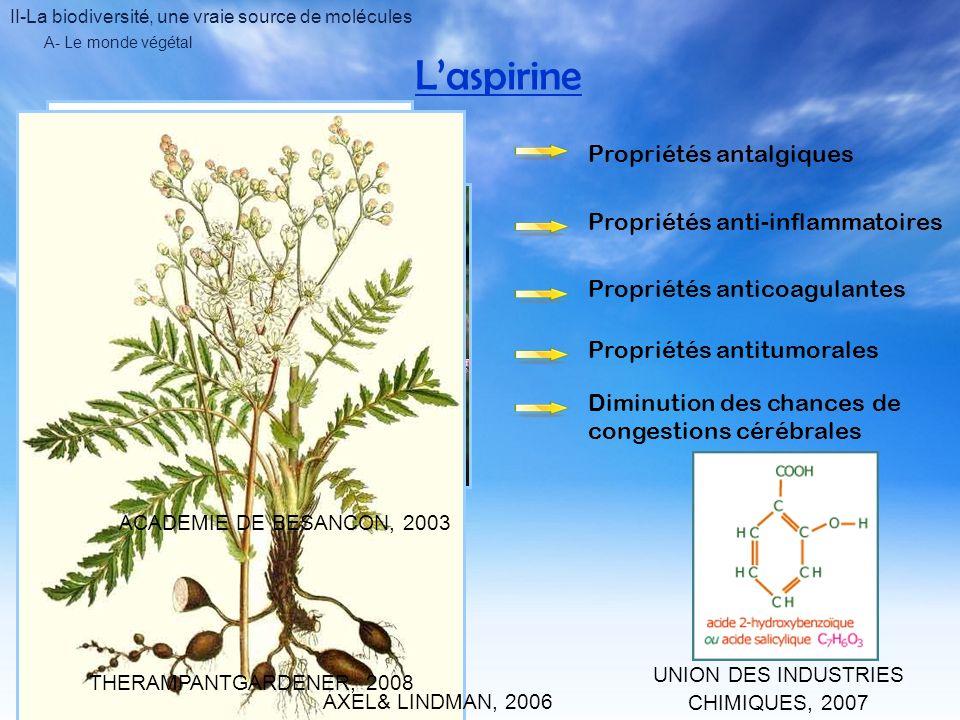 II-La biodiversité, une vraie source de molécules A- Le monde végétal Atropine ENCYCLOPAEDIA BRITANNICA, 2008 ACADEMIE DE MONTPELLIER, 2008 Belladone Molécule datropine Alcaloïde Antagoniste des récepteurs muscariniques du système nerveux parasympatique Augmentation de la fréquence cardiaque