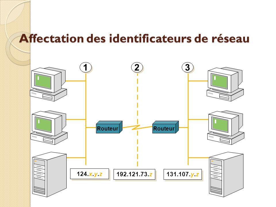 Affectation des identificateurs de réseau Routeur 1 1 2 2 3 3 124.x.y.z 192.121.73.z 131.107.y.z Routeur