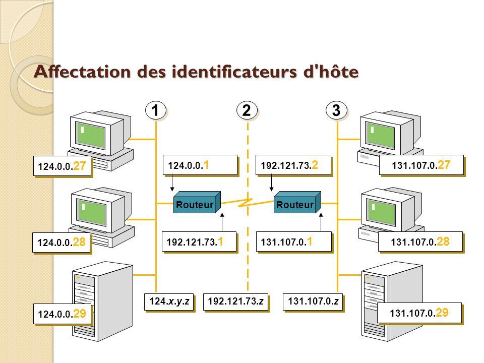 Affectation des identificateurs d'hôte Routeur 124.0.0. 27 124.0.0. 28 124.0.0. 29 131.107.0. 27 131.107.0. 28 131.107.0. 29 192.121.73. 1 124.0.0. 1