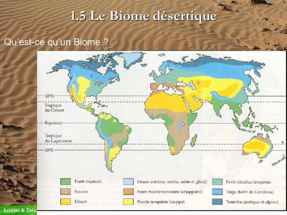 1.5 Le Biome désertique Quest-ce quun Biome ? Aridité & Désert1.Notion de désert Cest le plus grand niveau demboîtement de systèmes biologiques avant