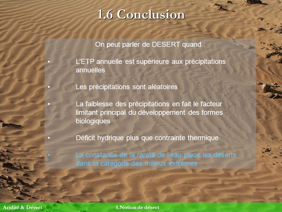1.6 Conclusion On peut parler de DESERT quand : LETP annuelle est supérieure aux précipitations annuelles Les précipitations sont aléatoires La faible
