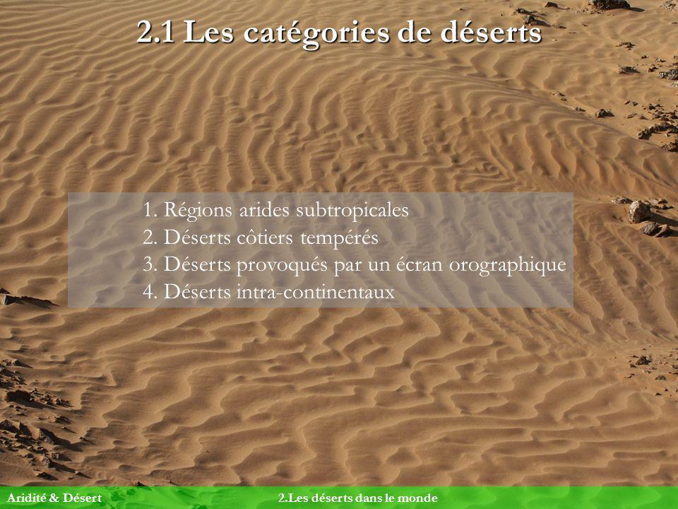 2.1 Les catégories de déserts 1. Régions arides subtropicales 2. Déserts côtiers tempérés 3. Déserts provoqués par un écran orographique 4. Déserts in