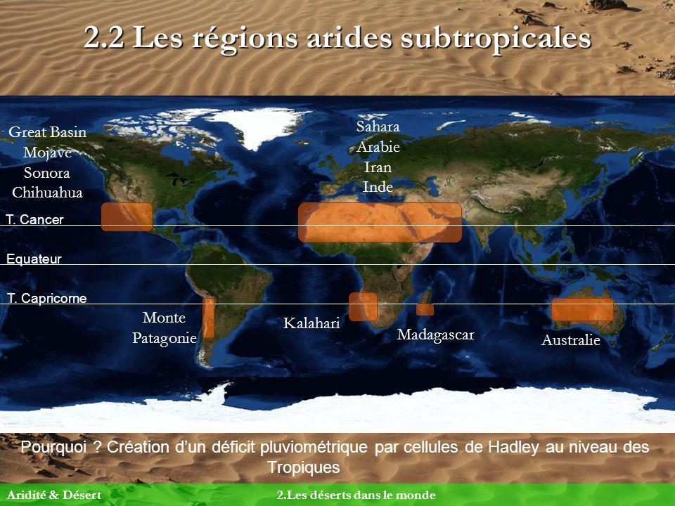 2.2 Les régions arides subtropicales Pourquoi ? Création dun déficit pluviométrique par cellules de Hadley au niveau des Tropiques Equateur T. Cancer