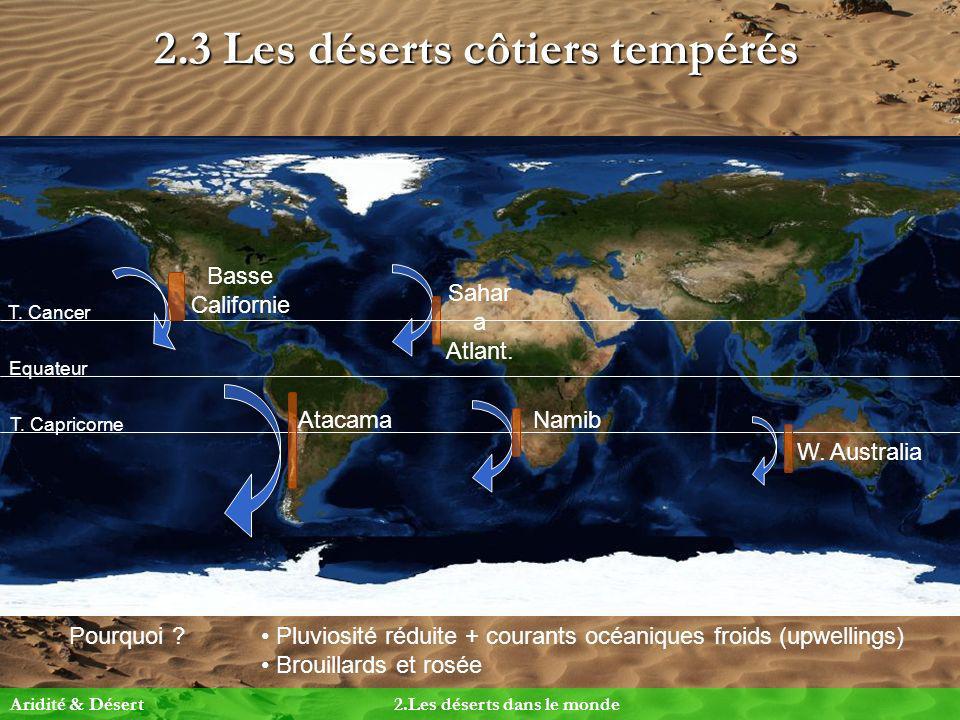 2.3 Les déserts côtiers tempérés Pourquoi ? Pluviosité réduite + courants océaniques froids (upwellings) Brouillards et rosée Equateur T. Cancer T. Ca