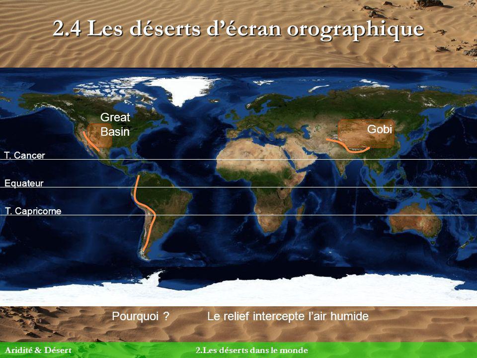 2.4 Les déserts décran orographique Pourquoi ?Le relief intercepte lair humide Equateur T. Cancer T. Capricorne Gobi Great Basin Aridité & Désert2.Les