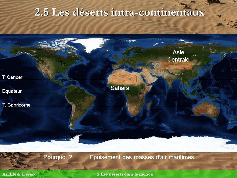 2.5 Les déserts intra-continentaux Pourquoi ?Epuisement des masses dair maritimes Equateur T. Cancer T. Capricorne Asie Centrale Sahara Aridité & Dése