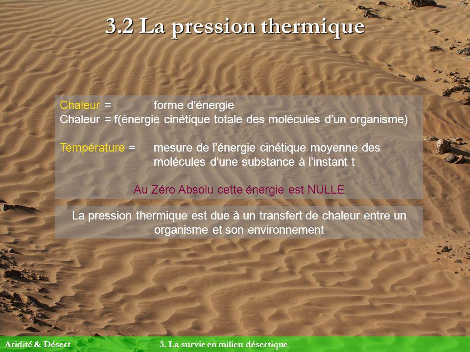 3.2 La pression thermique Chaleur = forme dénergie Chaleur = f(énergie cinétique totale des molécules dun organisme) Température = mesure de lénergie