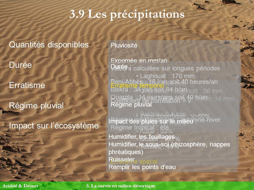 3.9 Les précipitations Quantités disponibles Durée Erratisme Régime pluvial Impact sur lécosystème Pluviosité Exprimée en mm/an Valeurs calculées sur