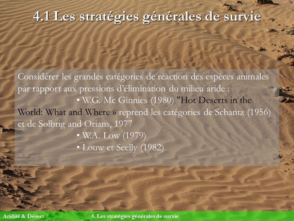 4.1 Les stratégies générales de survie Considérer les grandes catégories de réaction des espèces animales par rapport aux pressions délimination du mi