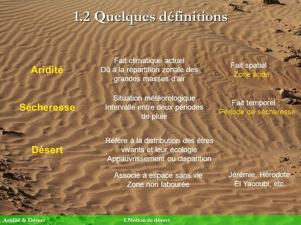 1.2 Quelques définitions Aridité Sécheresse Fait climatique actuel Dû à la répartition zonale des grandes masses dair Fait spatial : Zone aride Situat