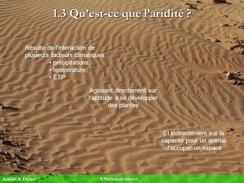1.3 Quest-ce que laridité ? Résulte de linteraction de plusieurs facteurs climatiques : précipitations, température, ETP Agissant directement sur lapt