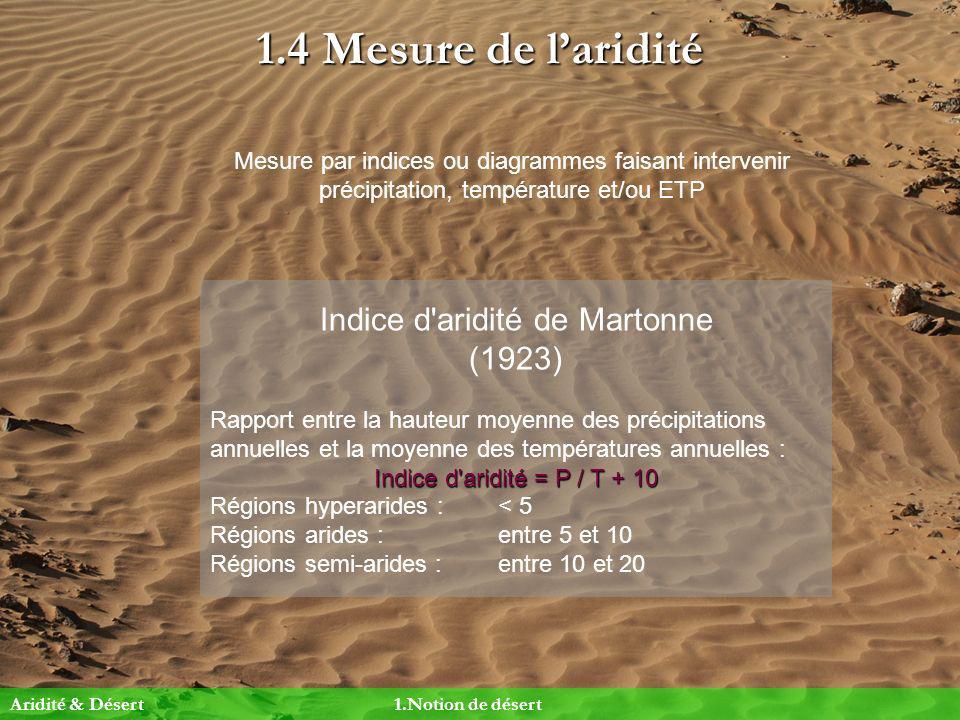 1.4 Mesure de laridité Mesure par indices ou diagrammes faisant intervenir précipitation, température et/ou ETP Indice d'aridité de Martonne (1923) Ra