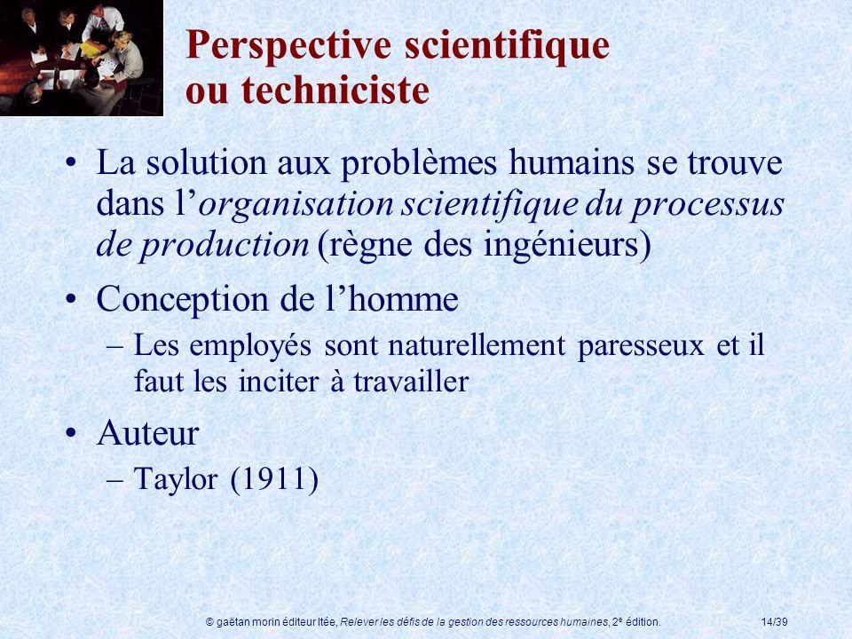 © gaëtan morin éditeur ltée, Relever les défis de la gestion des ressources humaines, 2 e édition.14/39 Perspective scientifique ou techniciste La sol