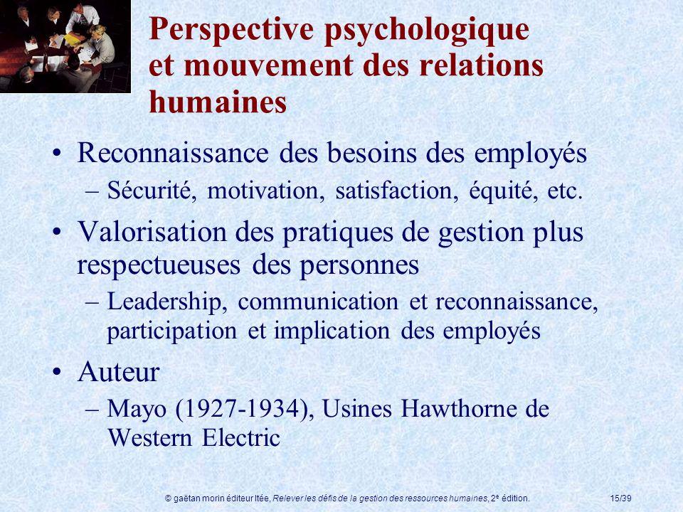 © gaëtan morin éditeur ltée, Relever les défis de la gestion des ressources humaines, 2 e édition.15/39 Perspective psychologique et mouvement des rel