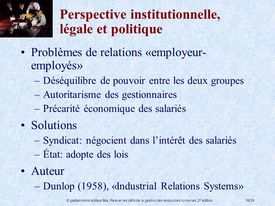 © gaëtan morin éditeur ltée, Relever les défis de la gestion des ressources humaines, 2 e édition.16/39 Perspective institutionnelle, légale et politi