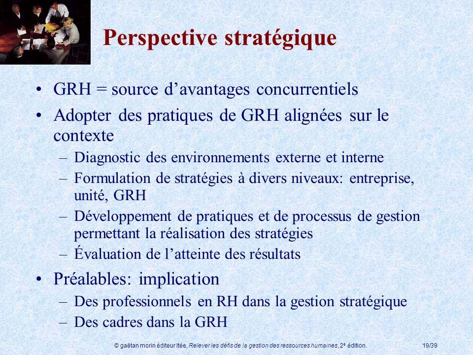 © gaëtan morin éditeur ltée, Relever les défis de la gestion des ressources humaines, 2 e édition.19/39 Perspective stratégique GRH = source davantage