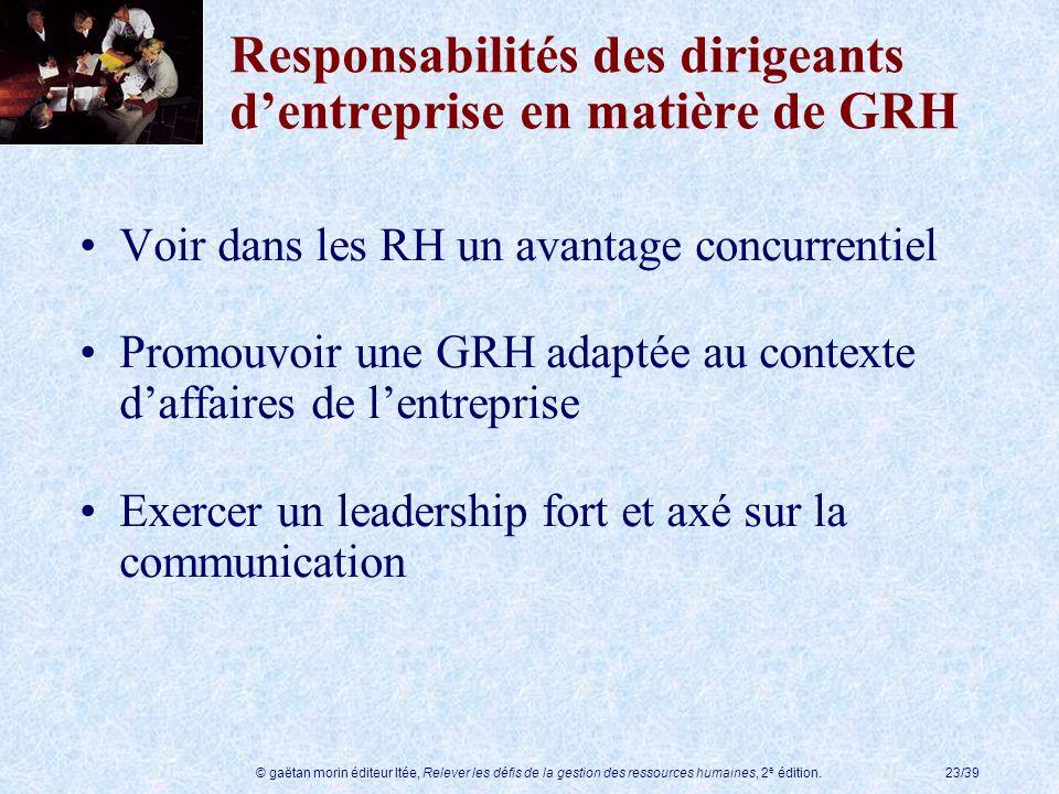 © gaëtan morin éditeur ltée, Relever les défis de la gestion des ressources humaines, 2 e édition.23/39 Responsabilités des dirigeants dentreprise en