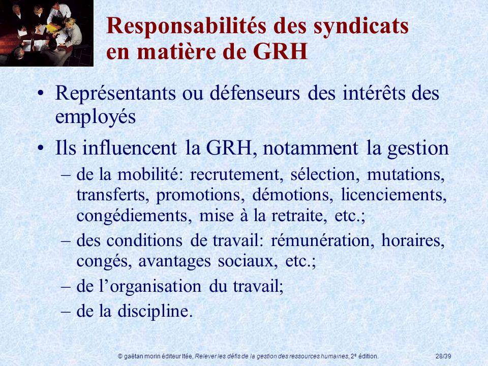 © gaëtan morin éditeur ltée, Relever les défis de la gestion des ressources humaines, 2 e édition.28/39 Responsabilités des syndicats en matière de GR