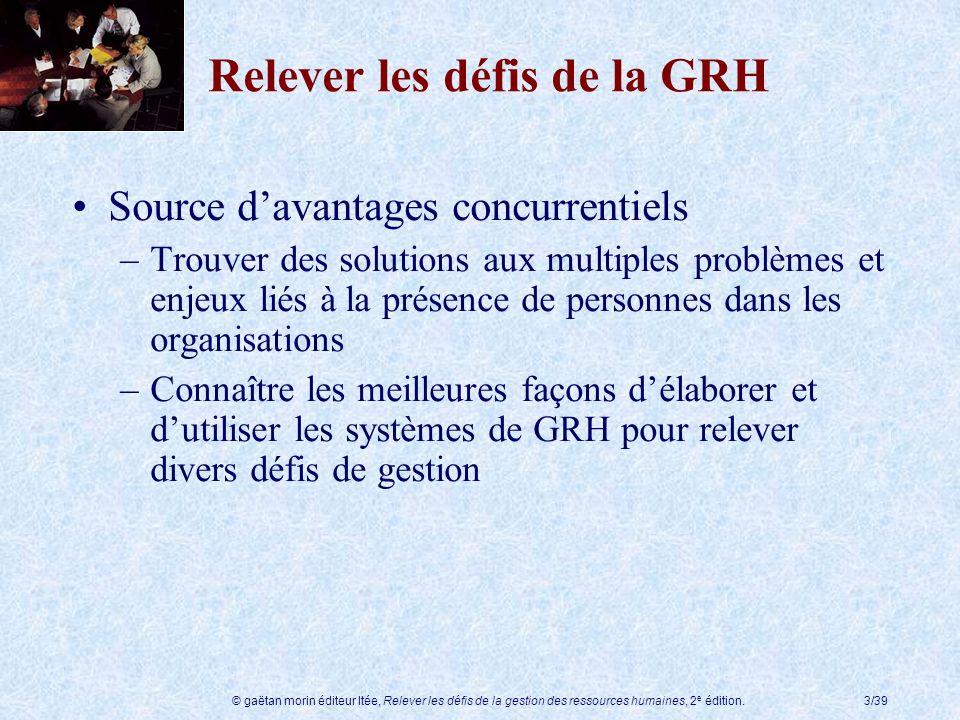 © gaëtan morin éditeur ltée, Relever les défis de la gestion des ressources humaines, 2 e édition.3/39 Relever les défis de la GRH Source davantages c