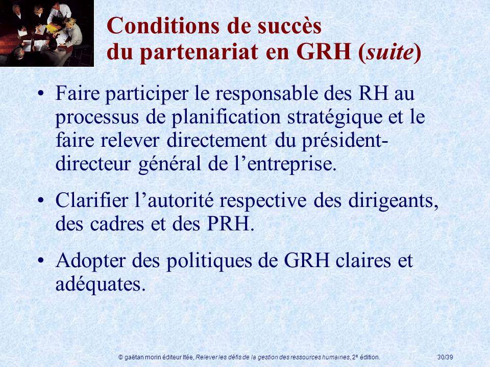 © gaëtan morin éditeur ltée, Relever les défis de la gestion des ressources humaines, 2 e édition.30/39 Conditions de succès du partenariat en GRH (su