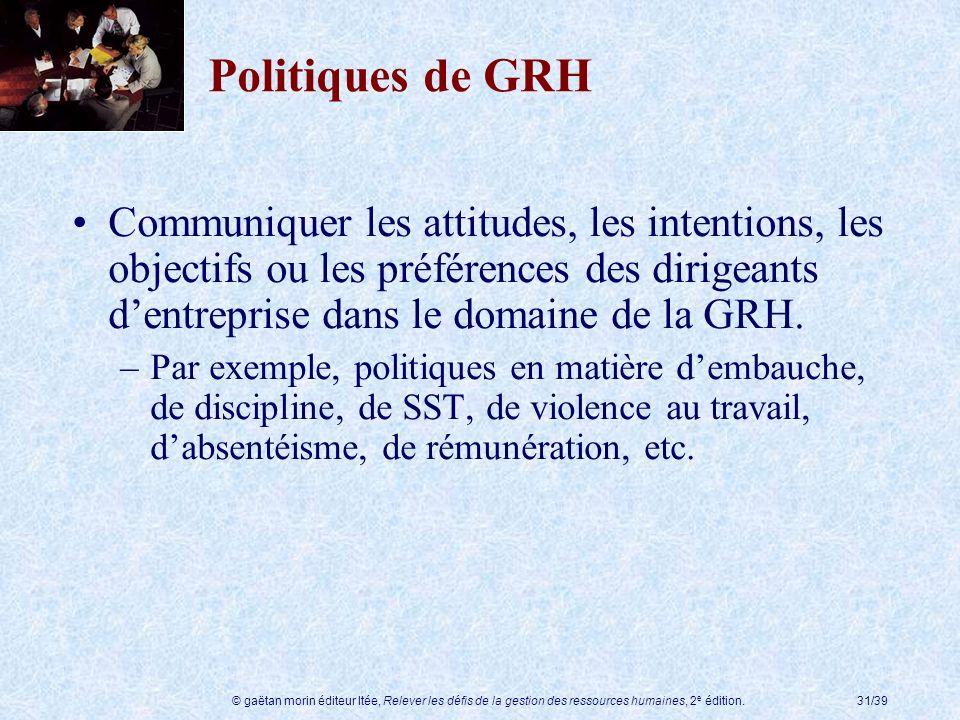 © gaëtan morin éditeur ltée, Relever les défis de la gestion des ressources humaines, 2 e édition.31/39 Politiques de GRH Communiquer les attitudes, l