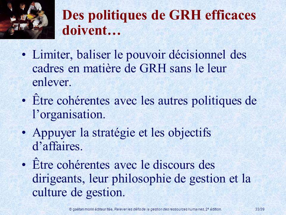 © gaëtan morin éditeur ltée, Relever les défis de la gestion des ressources humaines, 2 e édition.33/39 Des politiques de GRH efficaces doivent… Limit