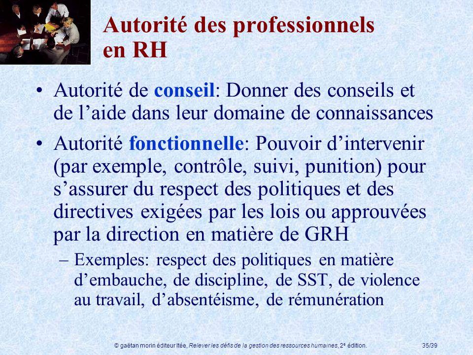 © gaëtan morin éditeur ltée, Relever les défis de la gestion des ressources humaines, 2 e édition.35/39 Autorité des professionnels en RH Autorité de