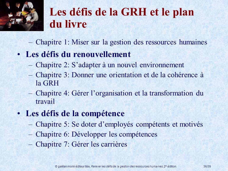 © gaëtan morin éditeur ltée, Relever les défis de la gestion des ressources humaines, 2 e édition.36/39 Les défis de la GRH et le plan du livre –Chapi