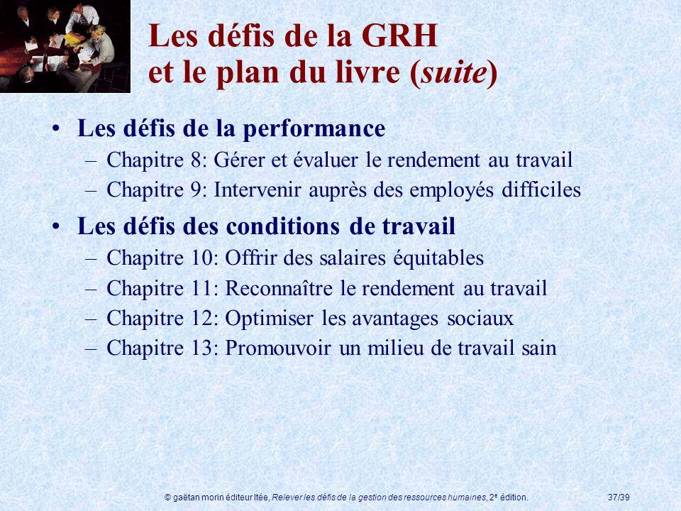 © gaëtan morin éditeur ltée, Relever les défis de la gestion des ressources humaines, 2 e édition.37/39 Les défis de la GRH et le plan du livre (suite