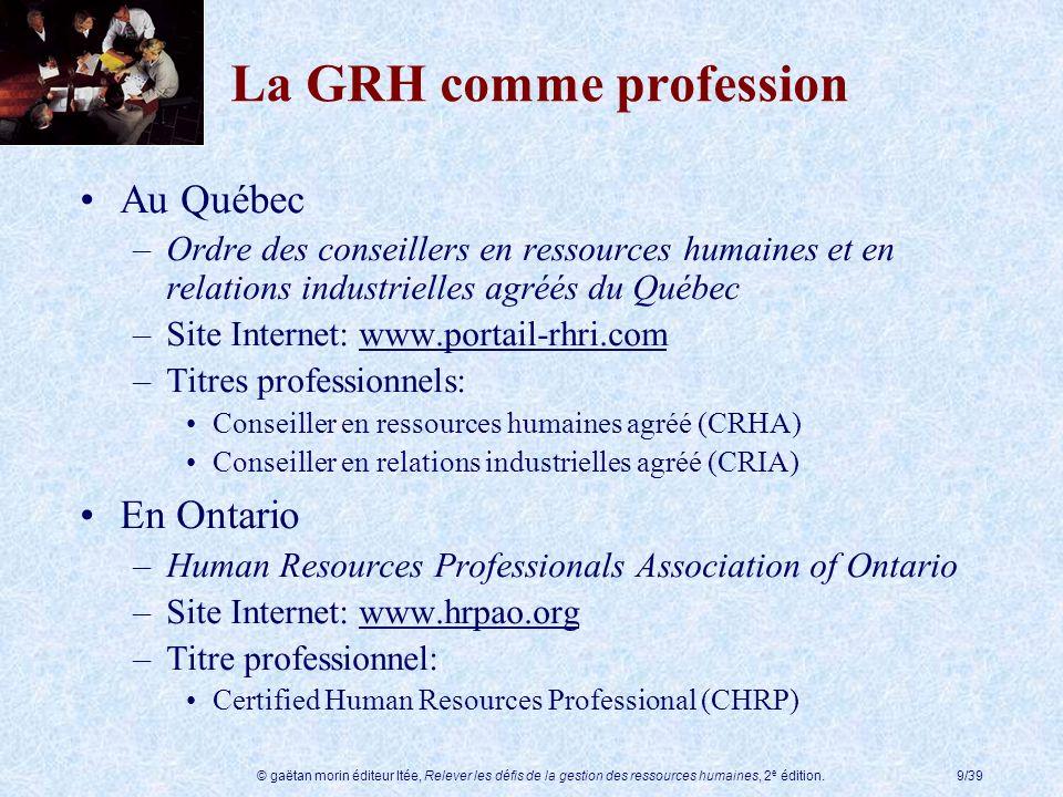 © gaëtan morin éditeur ltée, Relever les défis de la gestion des ressources humaines, 2 e édition.9/39 La GRH comme profession Au Québec –Ordre des co