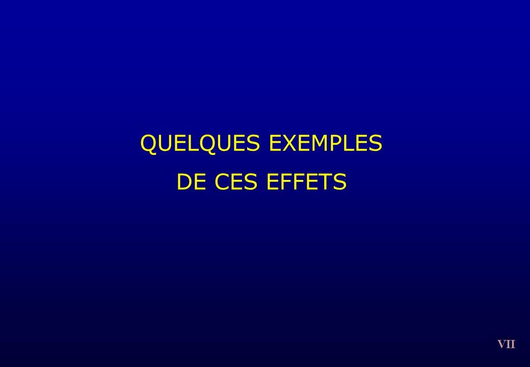 VII QUELQUES EXEMPLES DE CES EFFETS
