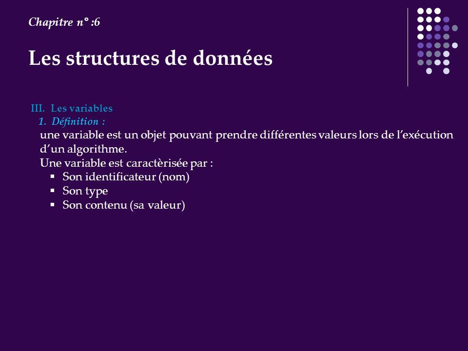Les structures de données Chapitre n° :6 III. Les variables 1. Définition : une variable est un objet pouvant prendre différentes valeurs lors de lexé