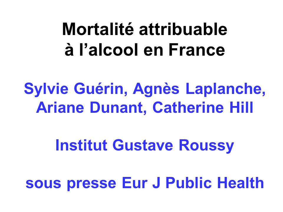 Mortalité attribuable à lalcool en France Sylvie Guérin, Agnès Laplanche, Ariane Dunant, Catherine Hill Institut Gustave Roussy sous presse Eur J Public Health