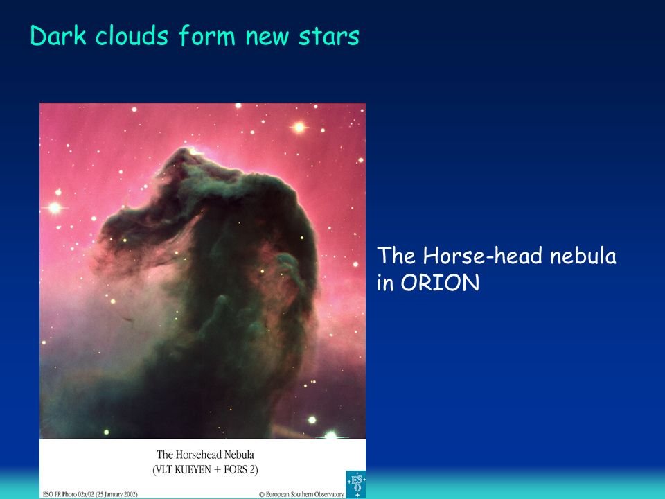 Dark clouds form new stars The Horse-head nebula in ORION