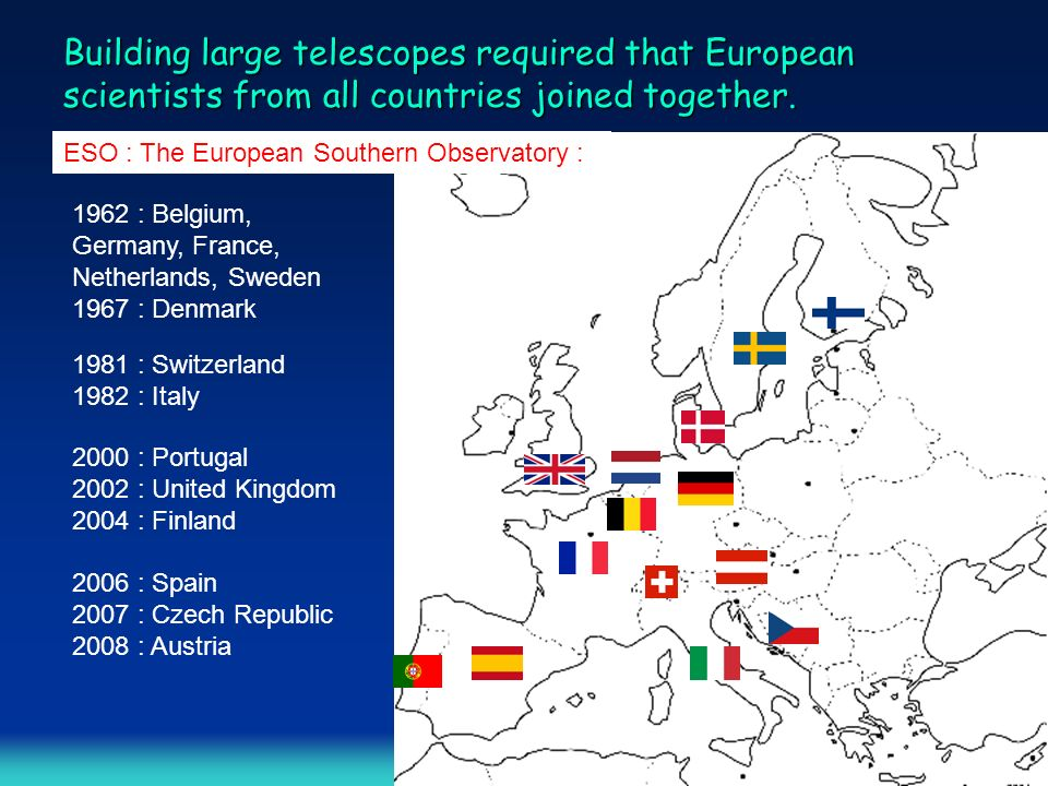 Building large telescopes required that European scientists from all countries joined together.
