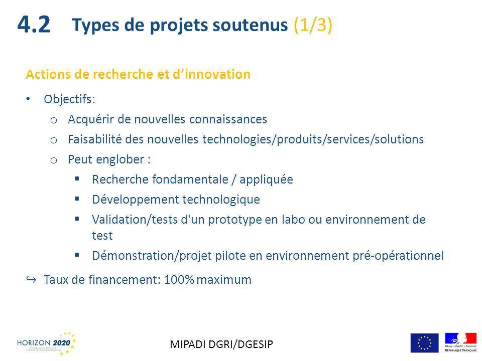 Actions de recherche et dinnovation Objectifs: o Acquérir de nouvelles connaissances o Faisabilité des nouvelles technologies/produits/services/soluti