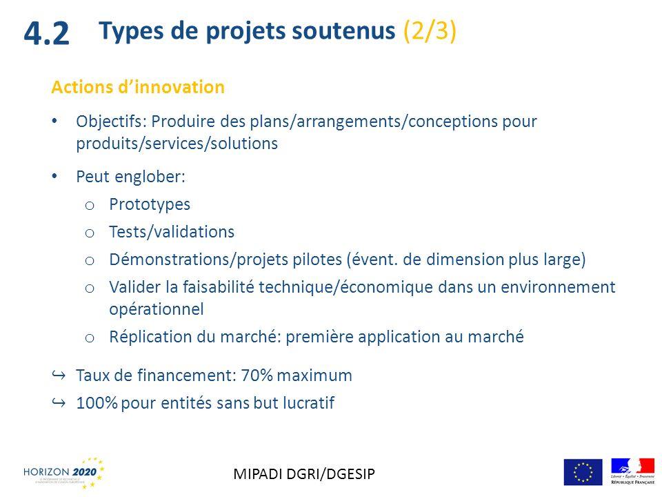 Actions dinnovation Objectifs: Produire des plans/arrangements/conceptions pour produits/services/solutions Peut englober: o Prototypes o Tests/valida