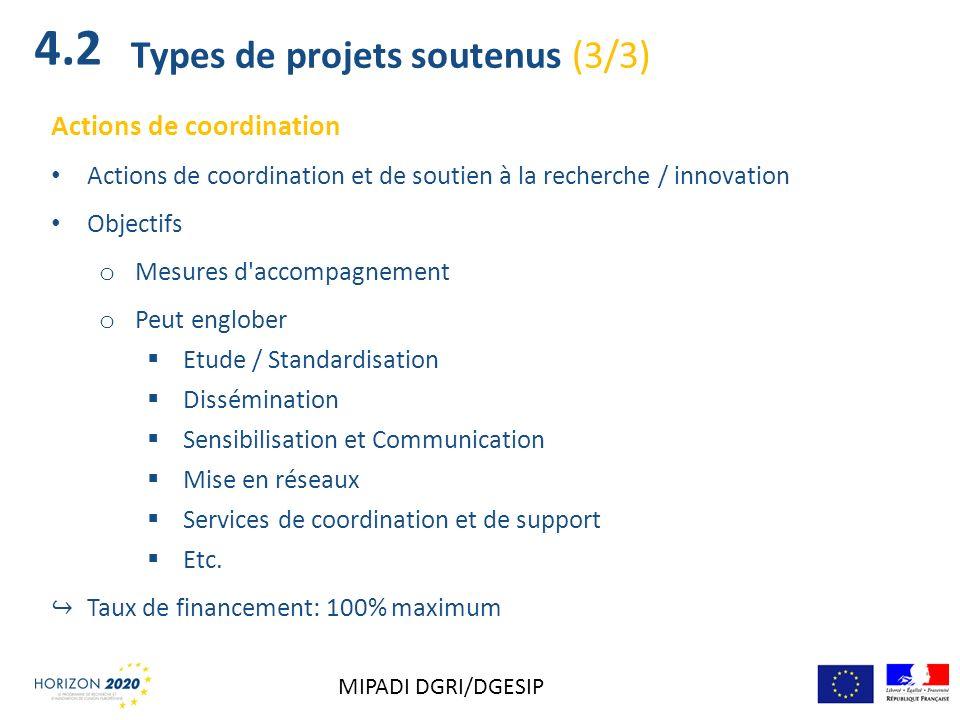 Actions de coordination Actions de coordination et de soutien à la recherche / innovation Objectifs o Mesures d'accompagnement o Peut englober Etude /
