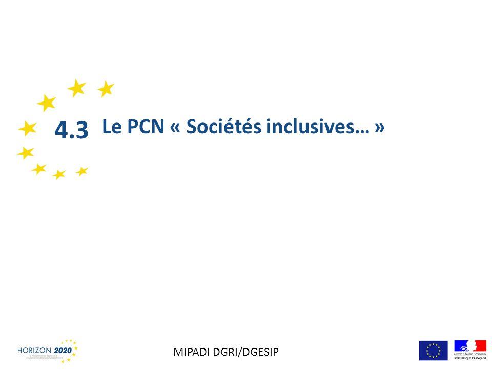 Le PCN « Sociétés inclusives… » 4.3 MIPADI DGRI/DGESIP