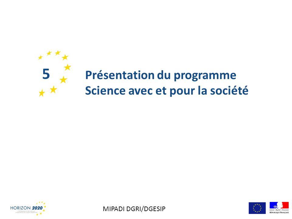 Présentation du programme Science avec et pour la société 5 MIPADI DGRI/DGESIP
