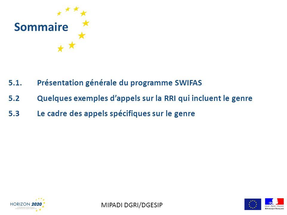 Sommaire 5.1. Présentation générale du programme SWIFAS 5.2 Quelques exemples dappels sur la RRI qui incluent le genre 5.3Le cadre des appels spécifiq